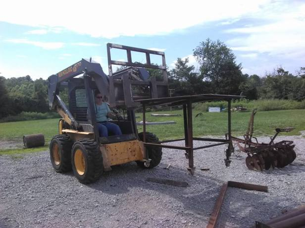 Here is Miguel driving heavy construction equipment.